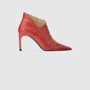 Zara red crocodile print PU ankle boots